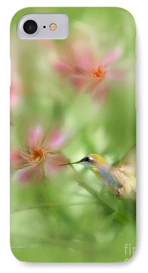 Garden Hummingbird Floral Green Tropical Oleander IPhone 7 Case featuring the photograph Little Miracles by Carolyn Staut