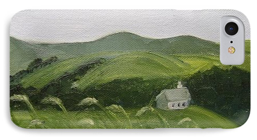 Landscape IPhone 7 Case featuring the painting Little Schoolhouse On The Hill by Toni Berry