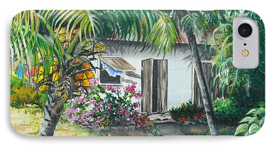 Caribbean Painting Typical Country House In Trinidad And The Islands With Coconut Tree Tropical Painting IPhone 7 Case featuring the painting Little West Indian House 2...sold by Karin Dawn Kelshall- Best