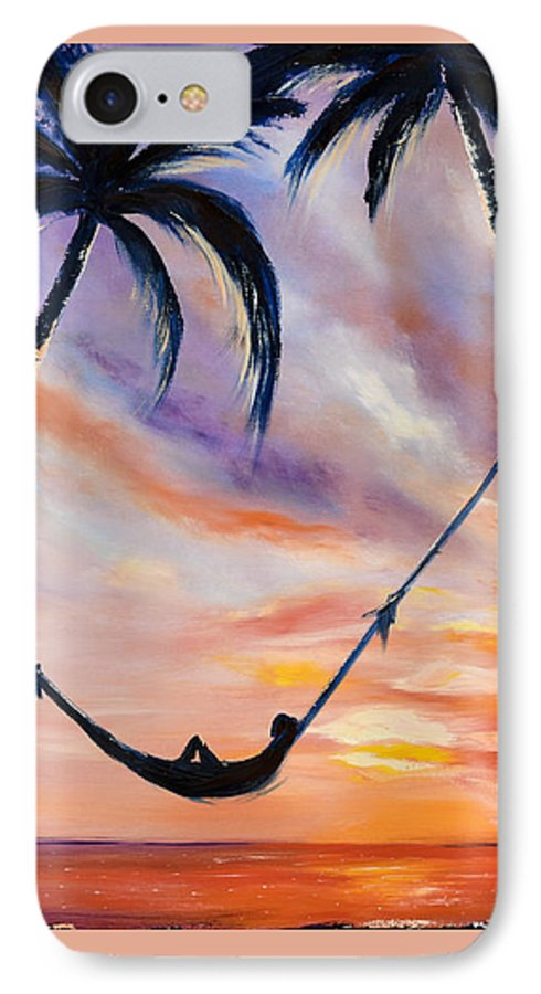 Sunset IPhone 7 Case featuring the painting Living The Dream by Gina De Gorna