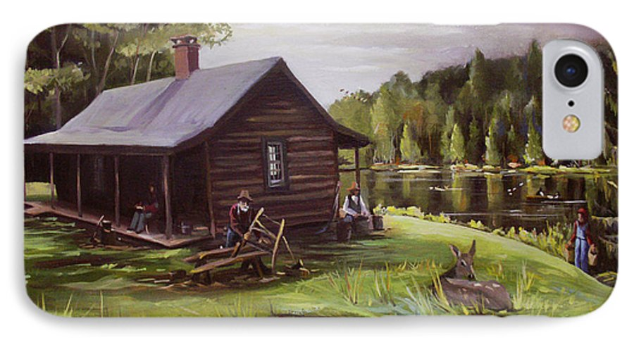 Log Cabin By The Lake IPhone 7 Case featuring the painting Log Cabin By The Lake by Nancy Griswold