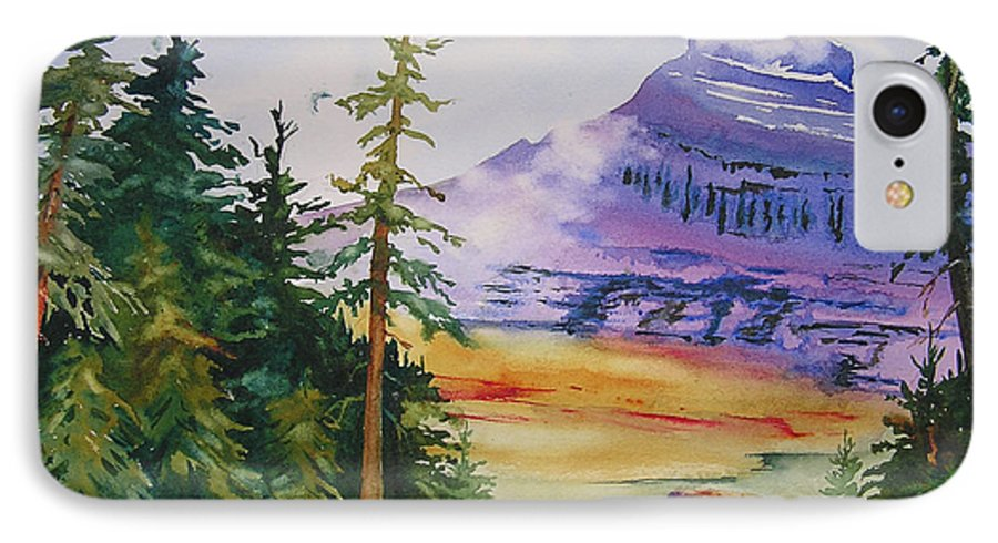 Landscape IPhone 7 Case featuring the painting Logan Pass by Karen Stark