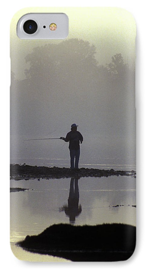 Early IPhone 7 Case featuring the photograph Lone Fisherman by Carl Purcell