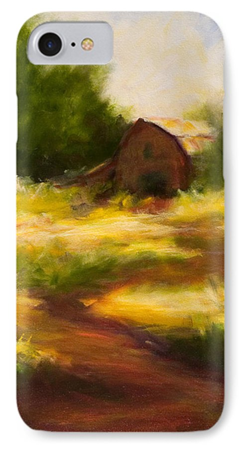 Landscape IPhone 7 Case featuring the painting Long Road Home by Shannon Grissom