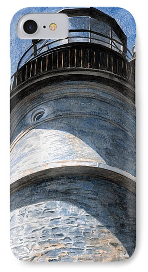 Lighthouse IPhone 7 Case featuring the painting Looking Up Portland Head Light by Dominic White