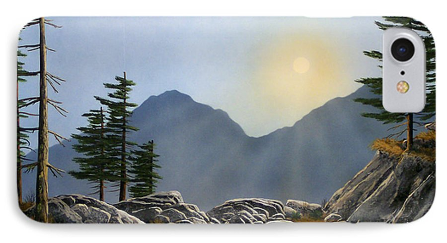Landscape IPhone 7 Case featuring the painting Lookout Rock by Frank Wilson