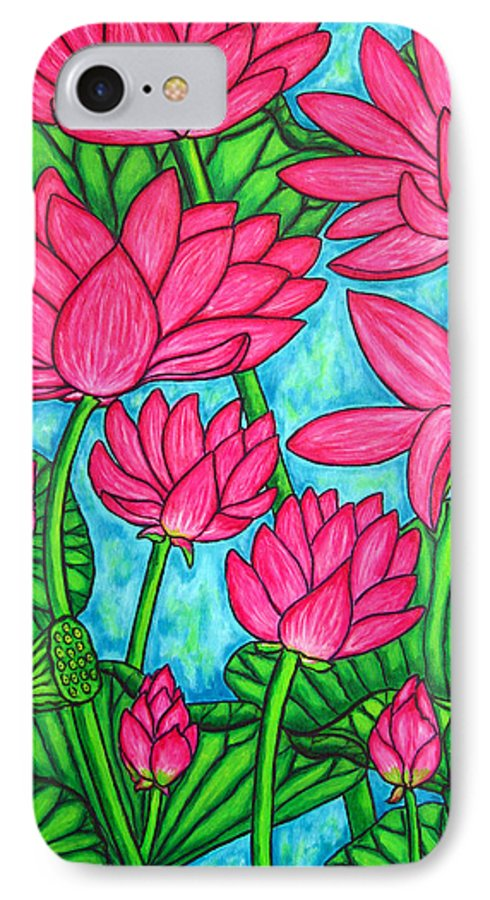 IPhone 7 Case featuring the painting Lotus Bliss by Lisa Lorenz