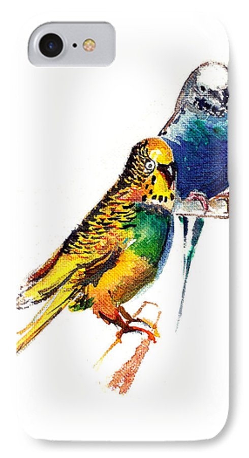 Nature IPhone 7 Case featuring the painting Love Birds by Anil Nene