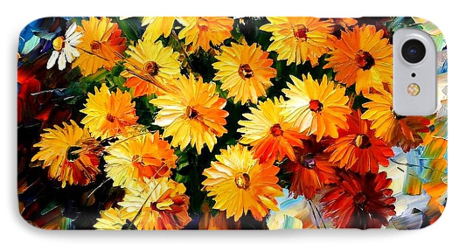 Flowers IPhone 7 Case featuring the painting Love Irradiation by Leonid Afremov