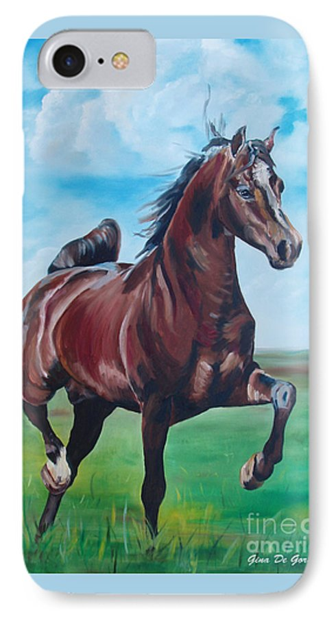 Horse IPhone 7 Case featuring the painting Lovely by Gina De Gorna