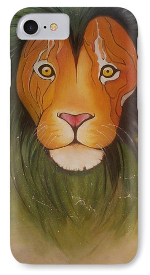 #lion #oilpainting #animal #colorful IPhone 7 Case featuring the painting LovelyLion by Anne Sue