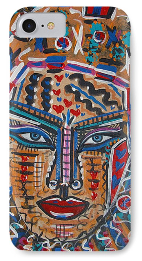 Abstract IPhone 7 Case featuring the painting Loviola by Natalie Holland