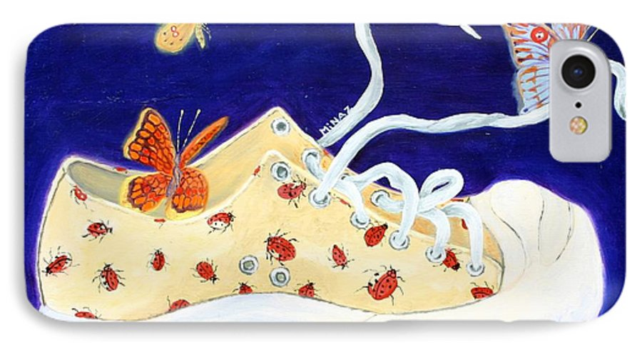 Running Shoes IPhone 7 Case featuring the painting Lucky Lady Bug Shoe by Minaz Jantz
