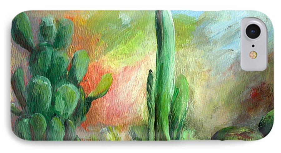 Floral Painting IPhone 7 Case featuring the painting Lumiere De Desert by Muriel Dolemieux