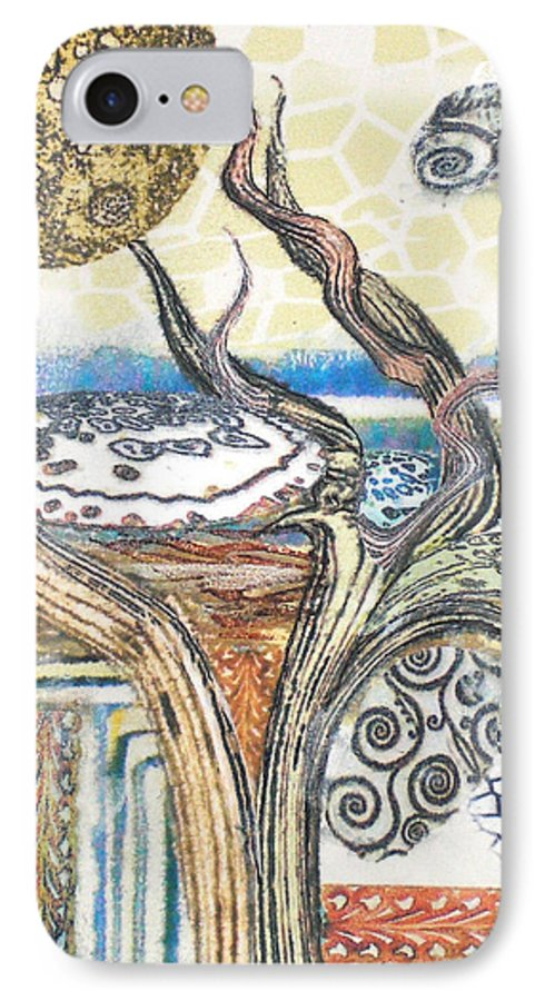 Abstract IPhone 7 Case featuring the painting Luna 2 by Valerie Meotti