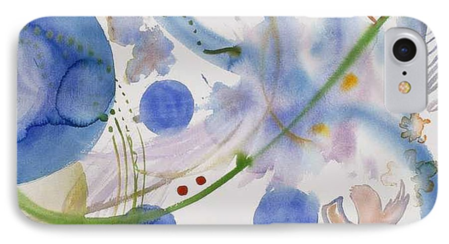 Abstract IPhone 7 Case featuring the painting Lunar Galactic Convergence by Eileen Hale