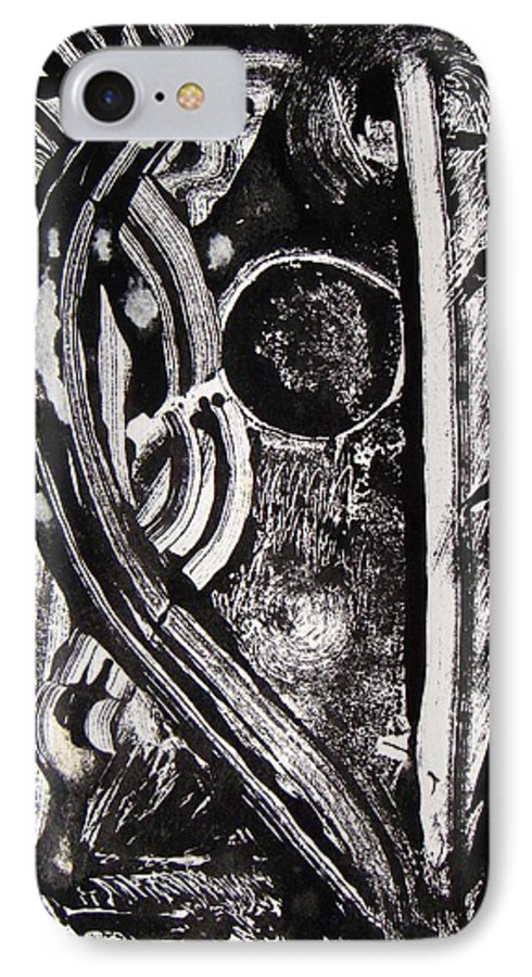 Abstract IPhone 7 Case featuring the painting Lune Noire by Muriel Dolemieux