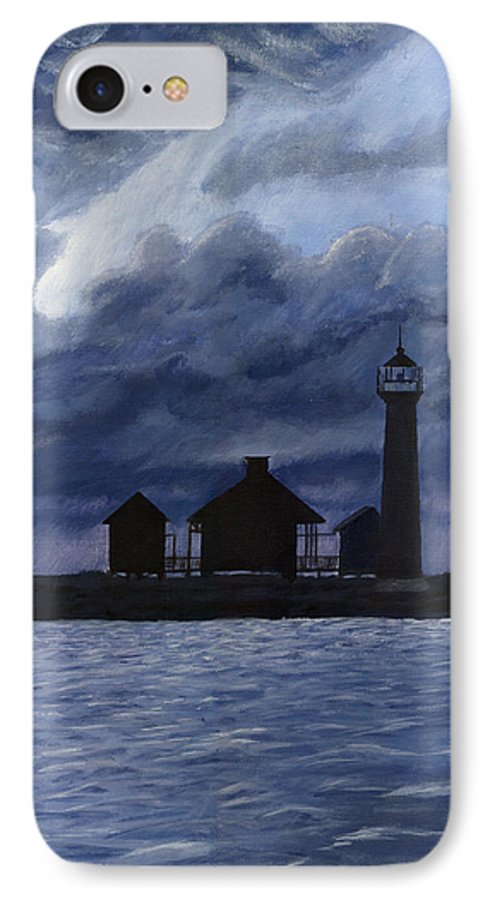 Landscape IPhone 7 Case featuring the painting Lydia Ann Lighthouse by Adam Johnson