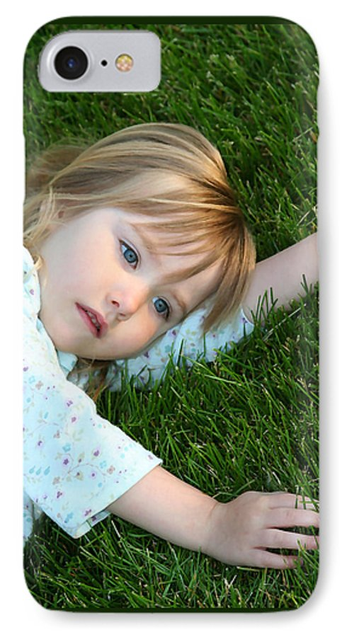 Girl IPhone 7 Case featuring the photograph Lying In The Grass by Margie Wildblood