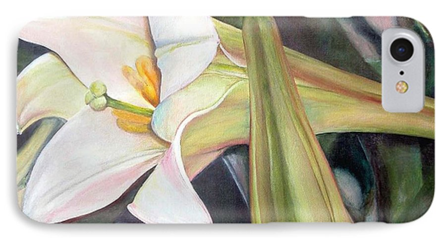 Floral Painting IPhone 7 Case featuring the painting Lys by Muriel Dolemieux