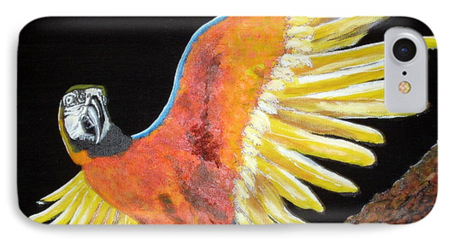 Macaw IPhone 7 Case featuring the painting Macaw - Wingin' It by Susan Kubes