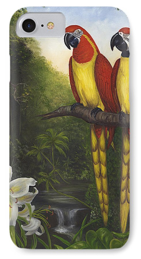 Landscape IPhone 7 Case featuring the painting Macaws And Lillies by Anne Kushnick