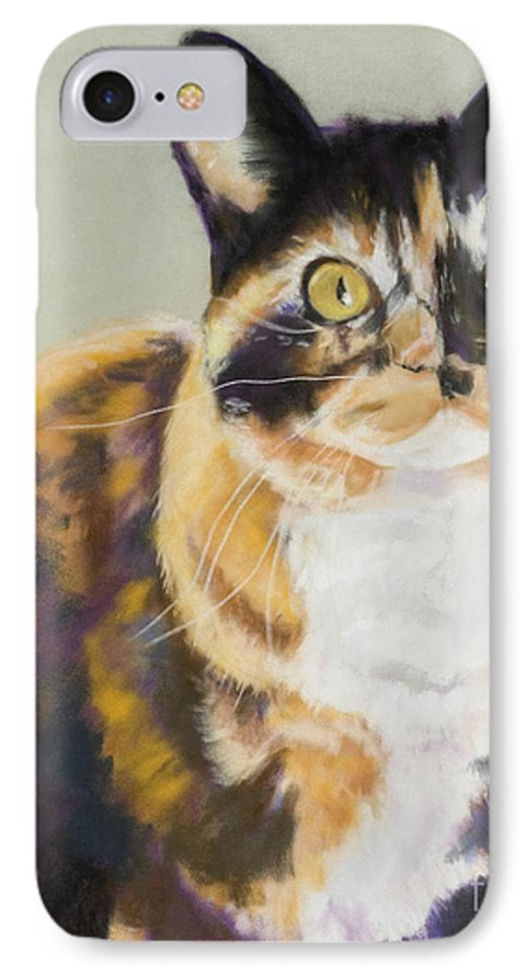 Calico IPhone 7 Case featuring the painting Maggie Mae by Pat Saunders-White