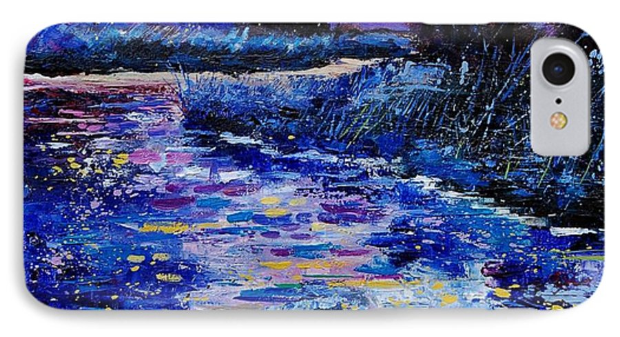 River IPhone 7 Case featuring the painting Magic Pond by Pol Ledent