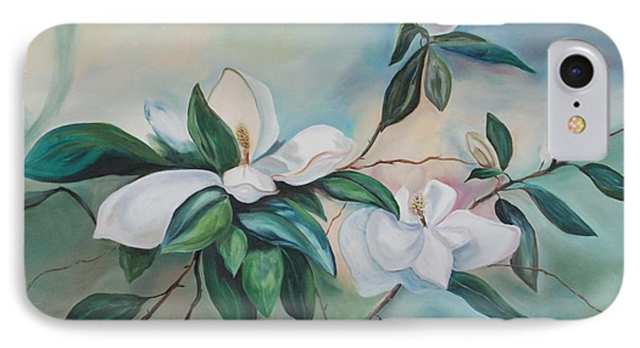 Flowers IPhone 7 Case featuring the painting Magnolia Summer by Margaret Fortunato