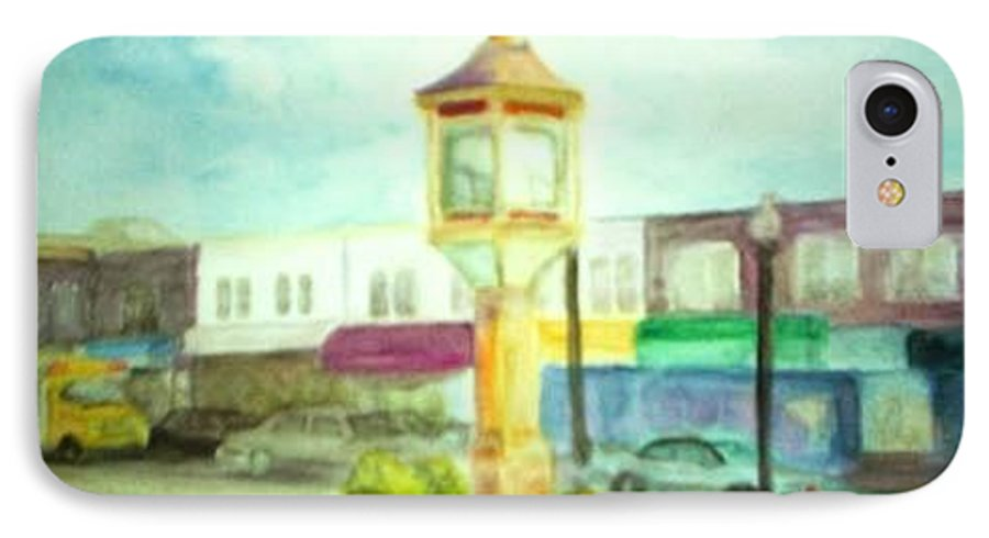 Clock IPhone 7 Case featuring the painting Main Street by Sheila Mashaw