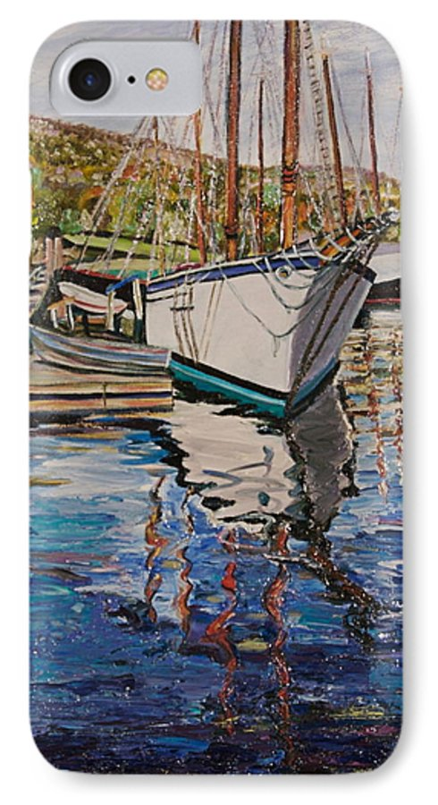 Maine IPhone 7 Case featuring the painting Maine Coast Boat Reflections by Richard Nowak