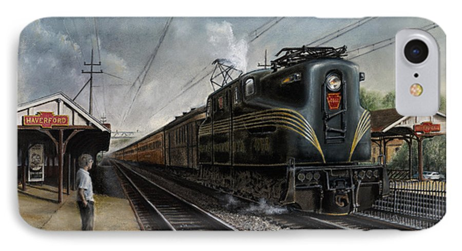 Trains IPhone 7 Case featuring the painting Mainline Memories by David Mittner