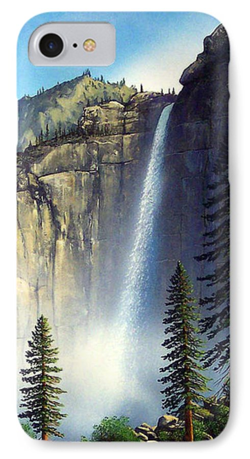 Landscape IPhone 7 Case featuring the painting Majestic Falls by Frank Wilson