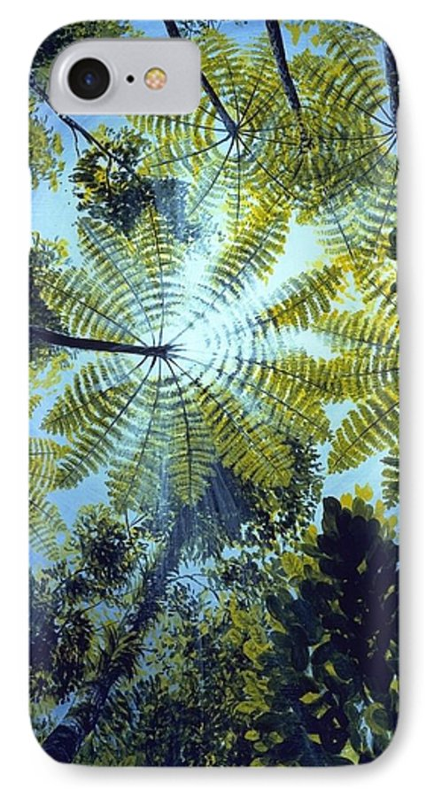 Chris Cox IPhone 7 Case featuring the painting Majestic Treeferns by Christopher Cox