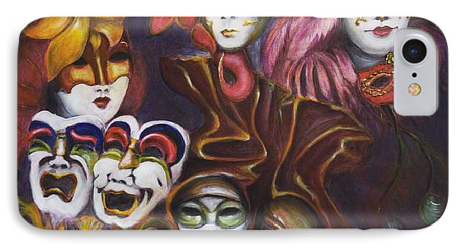 Masks IPhone 7 Case featuring the painting Making Faces I by Nik Helbig