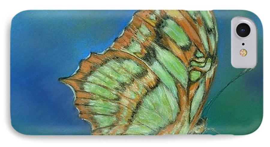 Butterfly IPhone 7 Case featuring the painting Malachite by Ceci Watson