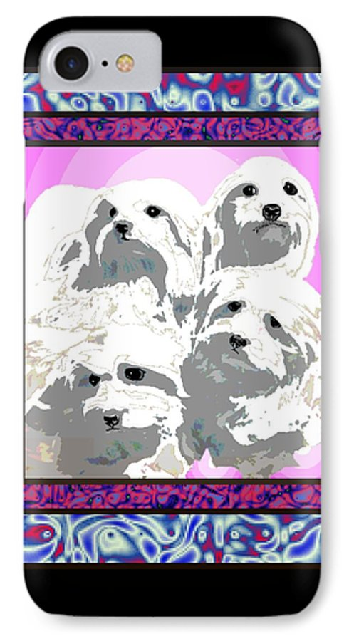 Maltese Group IPhone 7 Case featuring the digital art Maltese Group by Kathleen Sepulveda