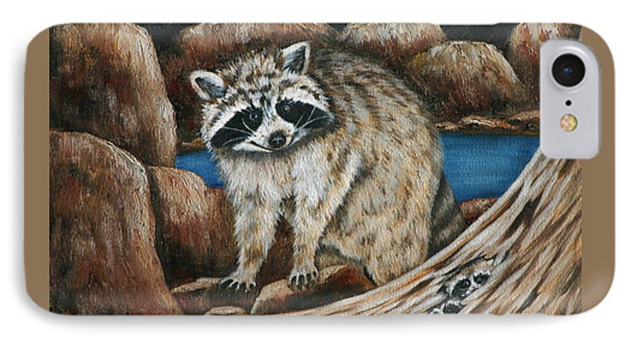 Racoon IPhone 7 Case featuring the painting Mama Racoon by Ruth Bares
