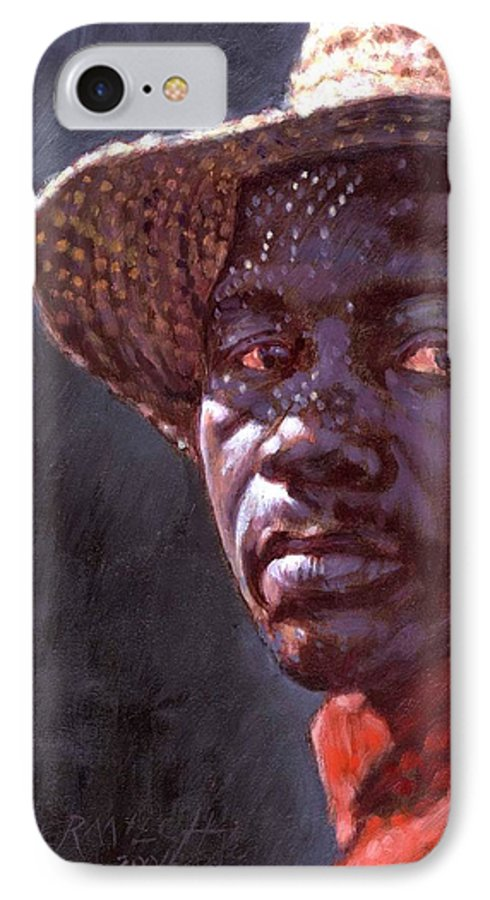 Black Man IPhone 7 Case featuring the painting Man In Straw Hat by John Lautermilch