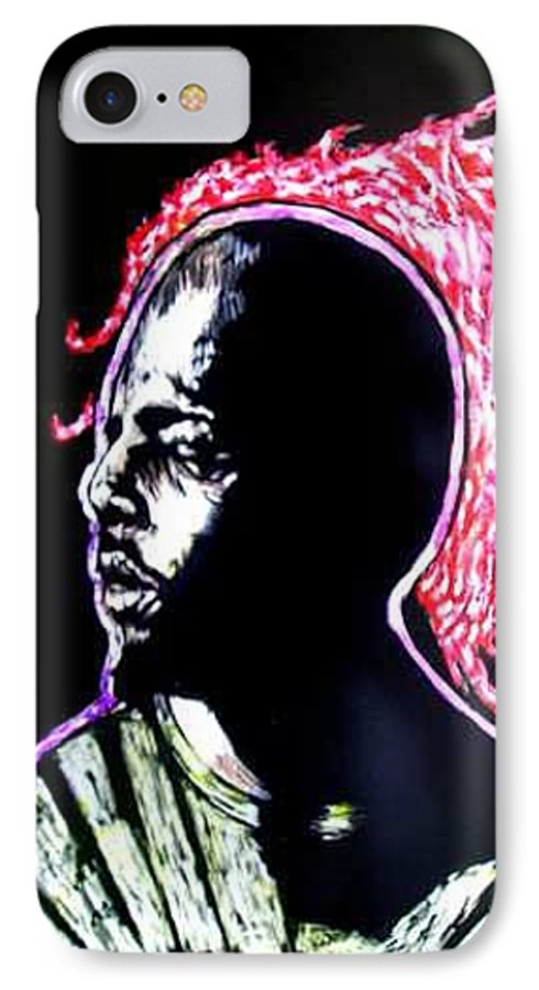 IPhone 7 Case featuring the mixed media Man On Fire by Chester Elmore
