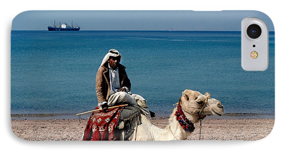 Dromedary IPhone 7 Case featuring the photograph Man With Camel At Red Sea by Carl Purcell