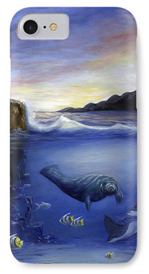 Seaworld IPhone 7 Case featuring the painting Manatee by Anne Kushnick
