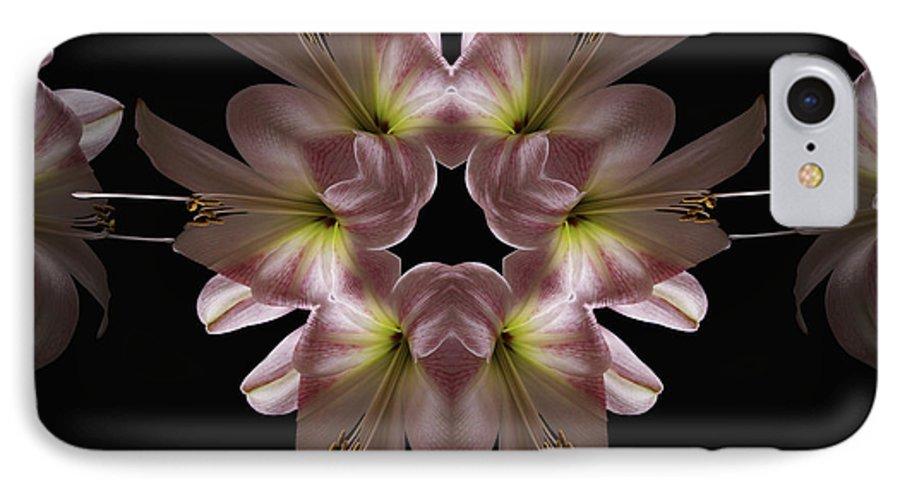 Mandala IPhone 7 Case featuring the digital art Mandala Amarylis by Nancy Griswold
