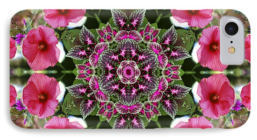 Mandala IPhone 7 Case featuring the digital art Mandala Pink Patron by Nancy Griswold