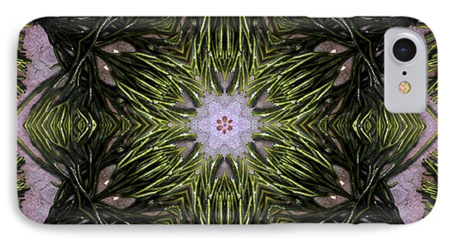 Mandala IPhone 7 Case featuring the digital art Mandala Sea Sponge by Nancy Griswold