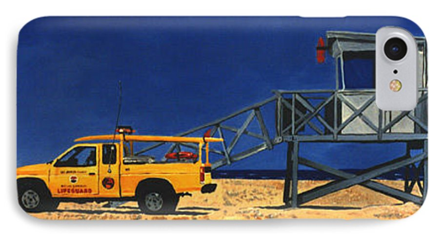 Modern IPhone 7 Case featuring the painting Manhattan Beach Lifeguard Station Side by Lance Headlee
