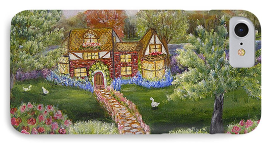 Landscape IPhone 7 Case featuring the painting Manor Of Yore by Quwatha Valentine