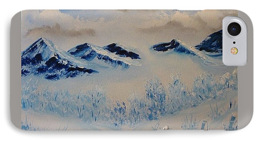 Blue IPhone 7 Case featuring the painting Many Valleys by Laurie Kidd