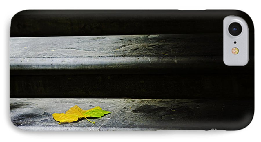 Maple Leaf IPhone 7 Case featuring the photograph Maple Leaf On Step by Sheila Smart Fine Art Photography