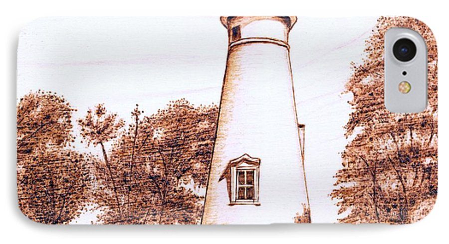 Lighthouse IPhone 7 Case featuring the pyrography Marblehead Lighthouse by Danette Smith